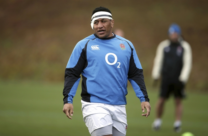 England's Mako Vunipola during a rugby training session in Bagshot, England, Saturday Feb. 9, 2019. England will play France, in the Six Nations Championship competition at London's Twickenham Stadium on Sunday. (Adam Davy/PA via AP)
