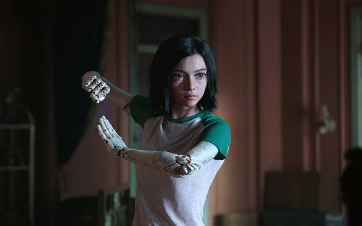 """This image released by Twentieth Century Fox shows the character Alita, voiced by Rosa Salazar, in a scene from """"Alita: Battle Angel."""" (Twentieth Century Fox via AP)"""