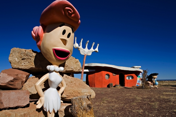 "FILE - In this Nov. 11, 2008, file photo, provided by Richard Maack, a Wilma Flintstone figure is seen at the Flintstones Bedrock City theme park near Williams, Ariz. The theme park near the Grand Canyon designed around the ""Flintstones"" cartoon will now be strictly for the birds. The new owner says it will become Raptor Ranch: Birds of Prey park, a showcase for falconry. The Arizona Daily Sun reported on the sale this week. (Richard Maack via AP, File)"