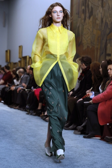The Carolina Herrera collection is modeled during Fashion Week in New York, Monday, Feb. 11, 2019. (AP Photo/Richard Drew)