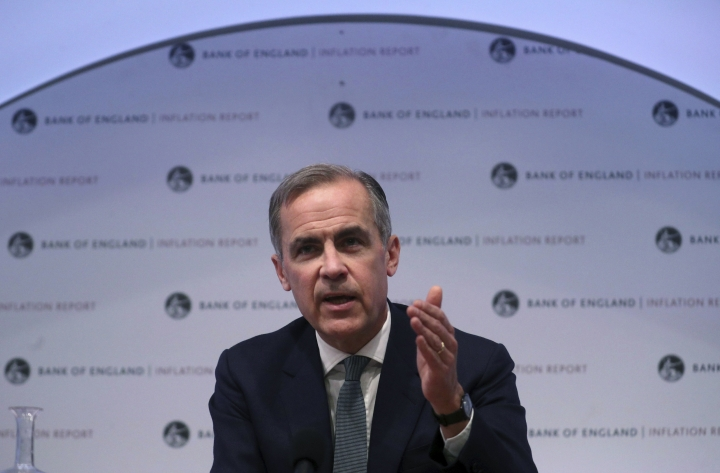 The Governor of the Bank of England, Mark Carney speaks during a news conference to confirm the main interest rate will remain at 0.75 percent, at the Bank of England in London, Thursday Feb. 7, 2019. The Bank of England said that Brexit uncertainties and a weaker global economy overall, mean that British growth in 2019 is likely to be 1.2 percent. (Hannah McKay/Pool via AP)