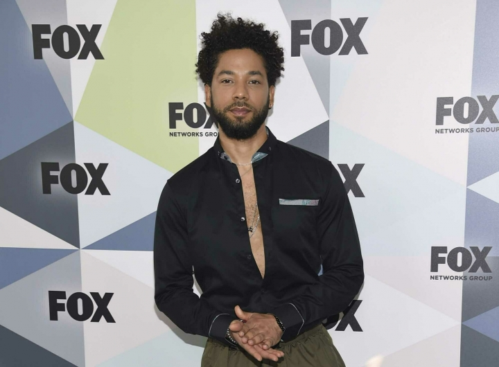 """FILE - In this May 14, 2018 file photo, Jussie Smollett, a cast member in the TV series """"Empire,"""" attends the Fox Networks Group 2018 programming presentation afterparty in New York. Smollett is expressing anger over being attacked outside his Chicago apartment last month. Smollett, who plays a musician on the Fox Network's ''Empire'' talked about his ordeal during an interview with ABC News' Robin Roberts to be broadcast Thursday on """"Good Morning America."""" He alleges he was the victim of an attack on Jan. 29 by two masked men who shouted racial and homophobic slurs at him. (Photo by Evan Agostini/Invision/AP, File)"""