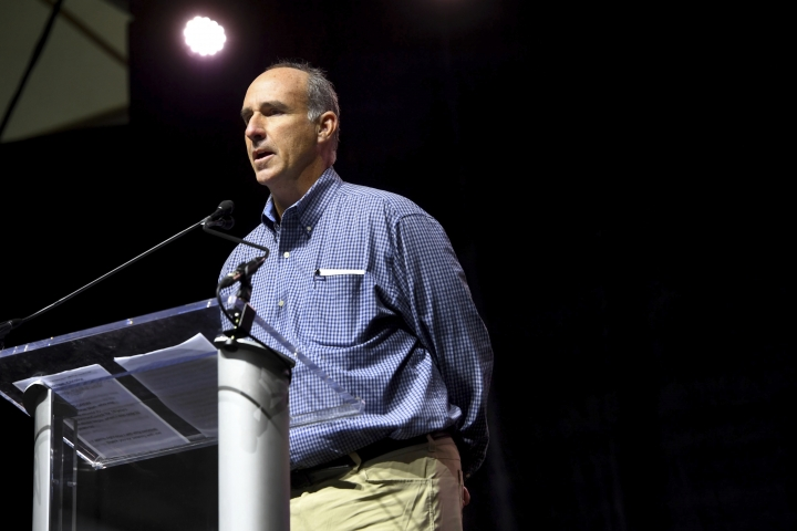 In this Nov. 13, 2018 photo, James Grein tells the audience gathered at the Silence Stops Now rally, at MECU Pavilion in Baltimore, that he was sexually abused for years by ex-Cardinal Theodore McCarrick. Pope Francis has defrocked McCarrick after Vatican officials found him guilty of soliciting for sex while hearing confession and of sexual crimes against minors and adults, the Holy See said Saturday, Feb. 16, 2019. Grein, the son of a family friend of McCarrick's, had testified to church officials that, among other abuses, McCarrick had repeatedly groped him during confession. (Katherine Frey/The Washington Post via AP, File)