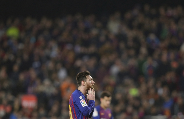 FC Barcelona's Lionel Messi pauses during the Spanish La Liga soccer match between FC Barcelona and Valladolid at the Camp Nou stadium in Barcelona, Spain, Saturday, Feb. 16, 2019. (AP Photo/Manu Fernandez)