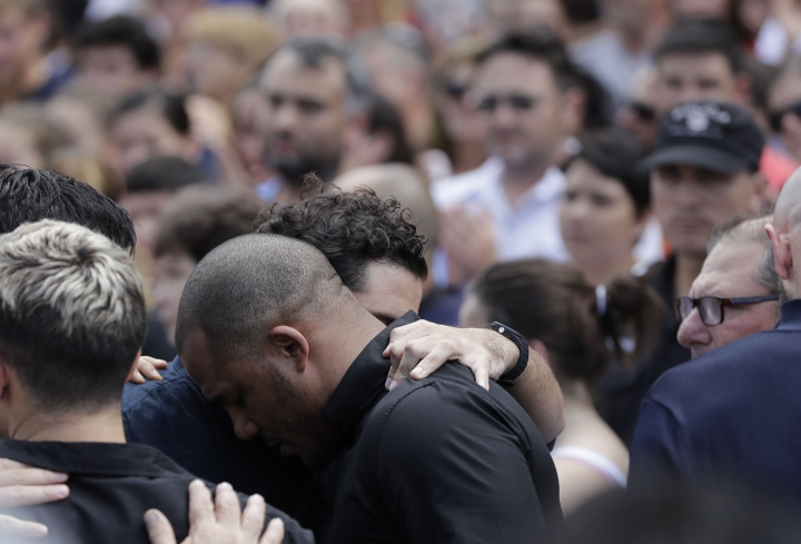 Relatives and friends of Argentine soccer player Emiliano Sala mourn after his wake in Progreso, Argentina, Saturday, Feb. 16, 2019. The Argentina-born forward died in an airplane crash in the English Channel last month when flying from Nantes in France to start his new career with English Premier League club Cardiff. (AP Photo/Natacha Pisarenko)