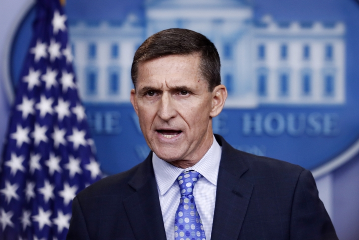 FILE - In this Feb. 1, 2017 file photo, National Security Adviser Michael Flynn speaks during the daily news briefing at the White House, in Washington. The Democrat-led House oversight committee launched an investigation Tuesday into whether senior officials in President Donald Trump's White House worked to transfer nuclear power technology to Saudi Arabia as part of a deal that would financially benefit prominent Trump supporters. The proposal was pushed by former National Security Adviser Michael Flynn, who was fired in early 2017, but it has remained under consideration by the Trump administration despite concerns from Democrats and Republicans that Saudi Arabia could develop nuclear weapons if the U.S. technology was transferred without proper safeguards. (AP Photo/Carolyn Kaster)