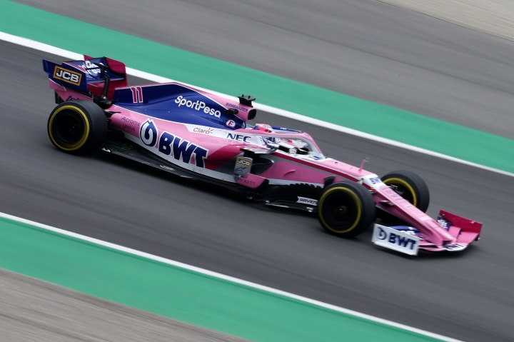 Racing Point driver Sergio Perez of Mexico steers his car, during a Formula One pre-season testing session at the Barcelona Catalunya racetrack in Montmelo, outside Barcelona, Spain, Wednesday, Feb.20, 2019. (AP Photo/Joan Monfort)
