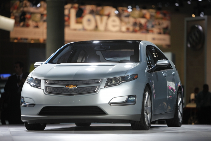 FILE - This Dec. 2, 2009 file picture shows the 2011 Chevrolet Volt during its debut at the Los Angeles Auto Show in Los Angeles. General Motors has stopped making the Chevrolet Volt, a ground-breaking electric car with a gasoline backup motor. The last Volt rolled off the assembly line at a Detroit factory with little ceremony on Tuesday, Feb. 26, 2019. (AP Photo/Jae C. Hong, File)