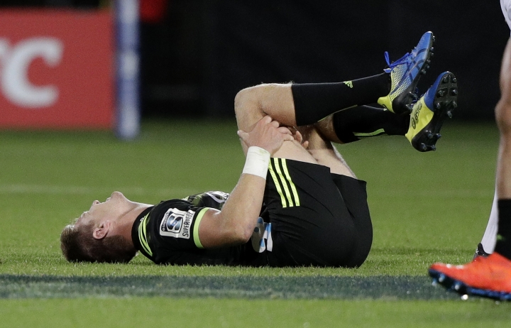 Hurricanes Jordie Barrett reacts after he was tackled during the Super Rugby game between the Crusaders and Hurricanes in Christchurch, New Zealand, Saturday, Feb. 23, 2019. (AP Photo/Mark Baker)