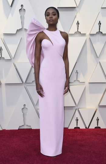 Kiki Layne arrives at the Oscars on Sunday, Feb. 24, 2019, at the Dolby Theatre in Los Angeles. (Photo by Richard Shotwell/Invision/AP)