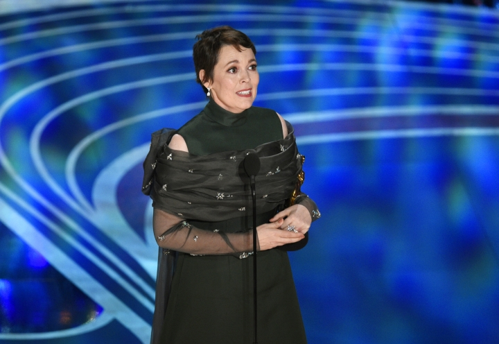 """Olivia Colman reacts as she accepts the award for best performance by an actress in a leading role for """"The Favourite"""" at the Oscars on Sunday, Feb. 24, 2019, at the Dolby Theatre in Los Angeles. (Photo by Chris Pizzello/Invision/AP)"""