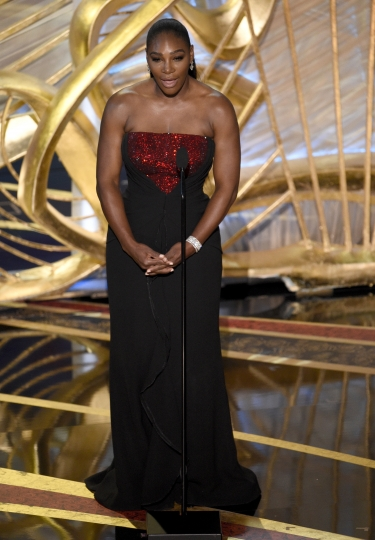 "Serena Williams introduces ""A Star is Born"" at the Oscars on Sunday, Feb. 24, 2019, at the Dolby Theatre in Los Angeles. (Photo by Chris Pizzello/Invision/AP)"