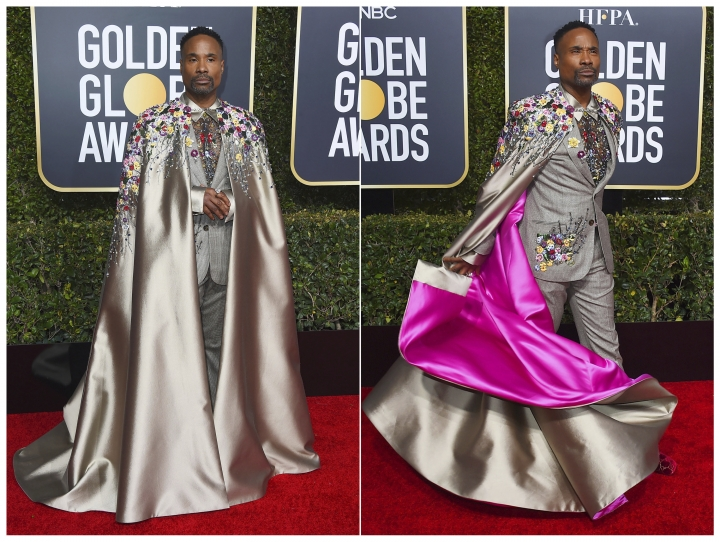 This combination photo shows actor Billy Porter arriving at the 76th annual Golden Globe Awards in Beverly Hills, Calif. on Jan. 6, 2019, wearing an embroidered suit and a matching cape with a pink lining. (Photo by Jordan Strauss/Invision/AP)