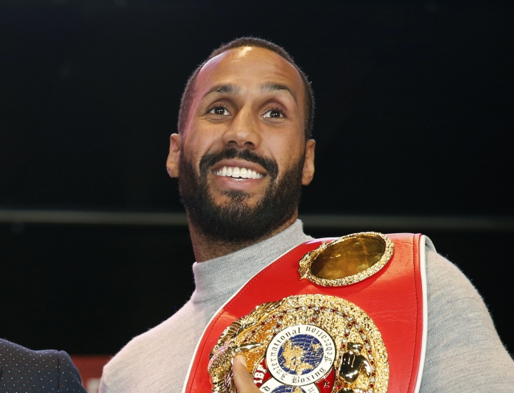 FILE- In this file photo dated Wednesday, Nov. 16, 2016, IBF Super Middleweight World Champion James Degale of Great Britain, during a photo opportunity in New York. Two-time world boxing champion James DeGale announced his retirement on Thursday, Feb. 28, 2019, 10-years after his professional debut. (AP Photo/Kathy Willens, FILE)