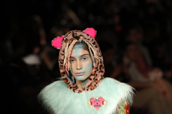 A model wears a creation as part of the Manish Arora ready to wear Fall-Winter 2019-2020 collection, that was presented in Paris, Thursday, Feb. 28, 2019. (AP Photo/Christophe Ena)