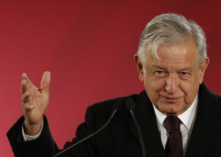 FILE - In this Jan. 9, 2019 file photo, Mexican President Andres Manuel Lopez Obrador speaks during a press conference in Mexico City. Lopez Obrador announced on Friday, Feb. 15, 2019, a $3.9 billion bailout for the cash-strapped state-owned Pemex oil company. (AP Photo/Rebecca Blackwell, File)