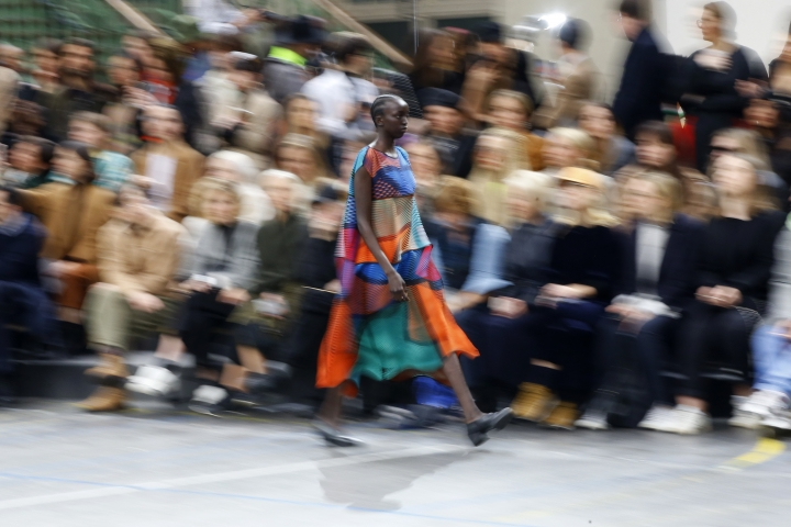 A model wears a creation as part of the Issey Miyake ready to wear Fall-Winter 2019-2020 collection, that was presented in Paris, Friday, March 1, 2019. (AP Photo/Michel Euler)