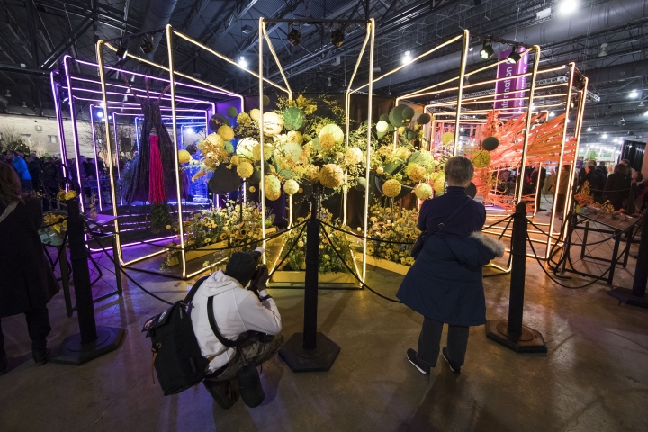 "Visitors view an instillation during a preview of the ""Flower Power"" themed Philadelphia Flower Show at the at the Pennsylvania Convention Center in Philadelphia, Friday, March 1, 2019. (AP Photo/Matt Rourke)"