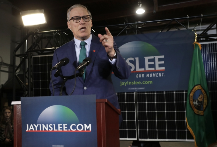 Washington Gov. Jay Inslee speaks, Friday, March 1, 2019, during a campaign event at A&R Solar in Seattle. Inslee announced that he will seek the 2020 Democratic presidential nomination, mixing calls for combating climate change and highlights of his liberal record with an aggressive critique of President Donald Trump. (AP Photo/Ted S. Warren)