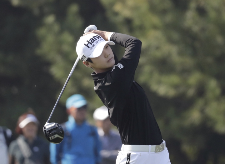 FILE - In this Oct. 14, 2018, file photo, Sung Hyun Park of South Korea watches her shot on the second hole during the final round of the LPGA KEB Hana Bank Championship at Sky72 Golf Club in Incheon, South Korea. Park made sure there were no anxious moments as she closed in on her sixth LPGA Tour victory on Sunday, March 3, 2019, at the HSBC Women's World Championship. (AP Photo/Lee Jin-man, File)
