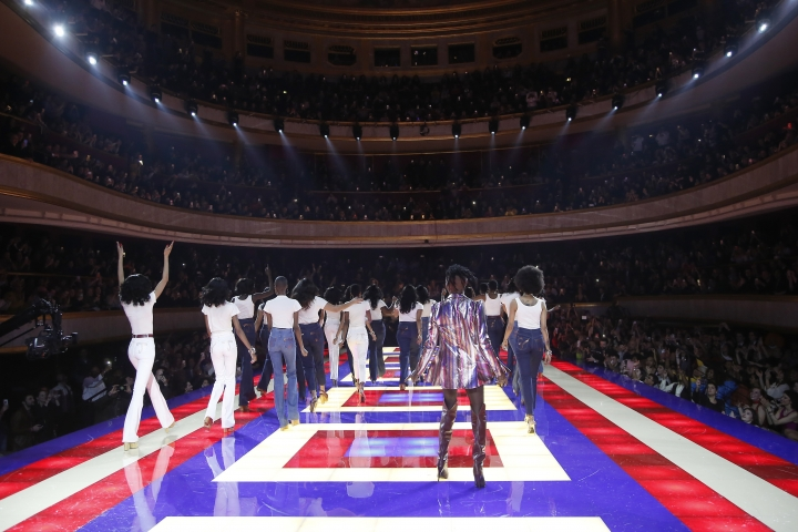 Singer Grace Jones, centre right, takes to the stage with other models during the Tommy Now ready to wear Fall-Winter 2019-2020 collection, that was presented in Paris, Saturday, March 2, 2019. (AP Photo/Michel Euler)