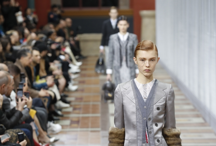 A model wears a creation as part of the Thom Browne ready to wear Fall-Winter 2019-2020 collection, that was presented in Paris, Sunday, March 3, 2019. (AP Photo/Thibault Camus)