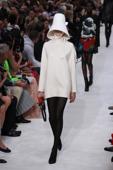 A model wears a creation as part of the Valentino ready to wear Fall-Winter 2019-2020 collection, that was presented in Paris, Sunday, March 3, 2019. (AP Photo/Francois Mori)