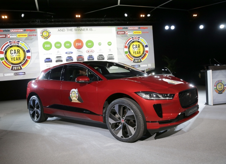 "The Jaguar I-Pace model was elected ""Car of the Year 2019"", ahead of the 89th Geneva International Motor Show, at the Palexpo, in Geneva, Switzerland, on Monday, March 4, 2019. (Salvatore di Nolfi/Keystone via AP)"