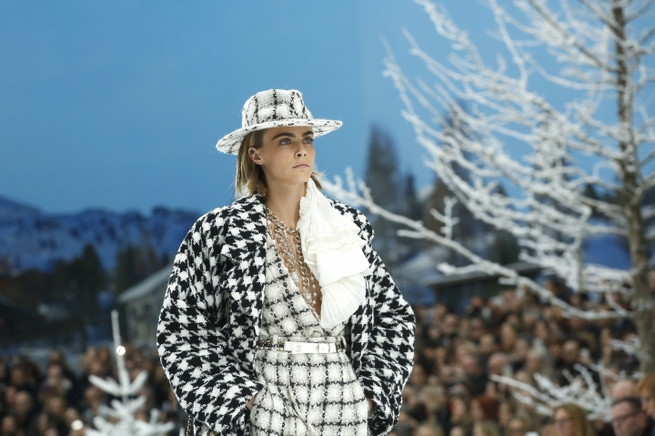 Model Cara Delevingne wears a creation as part of the Chanel ready to wear Fall-Winter 2019-2020 collection, that was presented in Paris, Tuesday, March 5, 2019. (AP Photo/Thibault Camus)