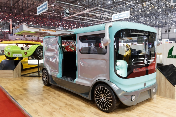 The new Sin Cars 'L City' electric car is presented during the press day at the '89th Geneva International Motor Show' in Geneva, Switzerland, Tuesday, March 05, 2019. The 'Geneva International Motor Show' takes place in Switzerland from March 7 until March 17, 2019. Automakers are rolling out new electric and hybrid models at the show as they get ready to meet tougher emissions requirements in Europe - while not forgetting the profitable and popular SUVs and SUV-like crossovers. (Cyril Zingaro/Keystone via AP)