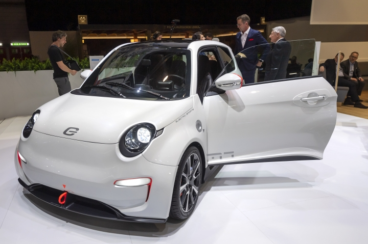 The new e.GO 'Life Sport' is presented during the press day at the '89th Geneva International Motor Show' in Geneva, Switzerland, Tuesday, March 05, 2019. The 'Geneva International Motor Show' takes place in Switzerland from March 7 until March 17, 2019. Automakers are rolling out new electric and hybrid models at the show as they get ready to meet tougher emissions requirements in Europe - while not forgetting the profitable and popular SUVs and SUV-like crossovers. (Martial Trezzini/Keystone via AP)