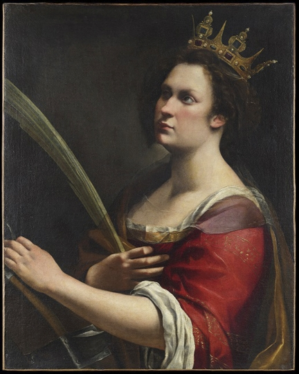 """This image provided Tuesday, March 5, 2019, shows a painting """"Santa Caterina d'Alessandria"""", by Italian 17th century artist Artemisia Gentileschi, in Florence, Italy. The Uffizi Galleries say an X-ray exam of a portrait by Artemisia Gentileschi have discovered a hidden painting by the Baroque master. Examination done by a Florence restoration laboratory revealed another portrait, depicting St. Catherine of Alexandria, that is """"virtually identical"""" to a painting recently acquired by London's National Gallery. The Uffizi says the discovery bolsters contentions that Gentileschi, one of history's most famous female painters, modeled female figures on her own image. (Opificio delle Pietre Dure via AP)"""