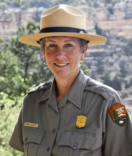 FILE - This May 19, 2018 file photo released by the National Park Service shows Grand Canyon National Park Superintendent, Christine Lehnertz at Grand Canyon National Park, Ariz. Lehnertz has not returned to her job nearly a month after being cleared of accusations she created a hostile work environment, improperly disciplined an employee and wasted park resources. The park announced last month that the investigation by the Interior Department's Office of Inspector General fully exonerated Lehnertz. The allegations were made public Tuesday, March 5, 2019, when the office released its investigative report. (Michael Quinn/National Park Service via AP, File)