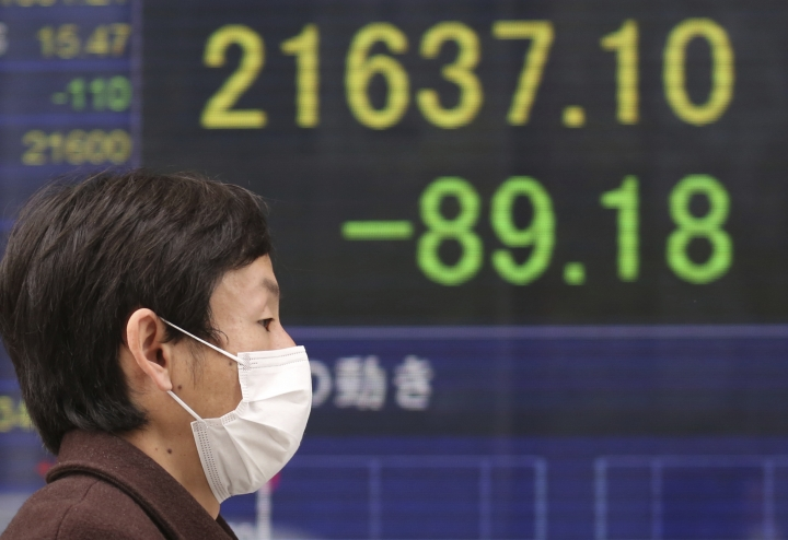A man walks by an electronic stock board of a securities firm in Tokyo, Wednesday, March 6, 2019. Asian markets were mostly higher Wednesday after a listless day of modest losses on Wall Street. (AP Photo/Koji Sasahara)