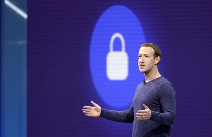 """FILE- In this May 1, 2018, file photo, Facebook CEO Mark Zuckerberg makes the keynote speech at F8, Facebook's developer conference in San Jose, Calif. Zuckerberg laid out a new """"privacy-focused"""" vision for social networking on Wednesday, March 6, 2019. (AP Photo/Marcio Jose Sanchez, File)"""