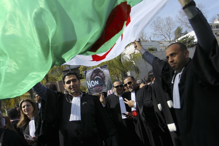 Algerian lawyers demonstrate with a national flag outside the constitutional council in a protest against President Abdelaziz Bouteflika, Thursday March 7, 2019 in Algiers. The Algerian leader, in power since 1999 and all but invisible since a stroke in 2013, is running for a fifth term. (AP Photo/Anis Belghoul)