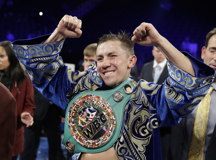 FILE - In this Sept. 17, 2017, file photo, Gennady Golovkin reacts following a middleweight title against Canelo Alvarez, in Las Vegas. Golovkin will return to the ring in June after signing a multiyear deal Friday, March 8, 2019, with DAZN, which gives him the possibility of a third fight with Alvarez. No date or opponent was announced for the fight, which will be Golovkin's first since being edged by Alvarez last September in their second bout after they fought to a draw in the first one. (AP Photo/John Locher, File)
