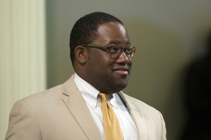 FILE - This Aug. 15, 2016 file photo shows then-Assemblyman Sebastian Ridley-Thomas, D-Los Angeles, at the Capitol in Sacramento, Calif. At least nine sitting or former lawmakers were investigated for sexual harassment or misconduct claims in 2018. Investigators found Ridley-Thomas likely forcibly kissed a woman. He denies the allegations and resigned in late 2017 citing health reasons. He is a Democrat. (AP Photo/Rich Pedroncelli, File)