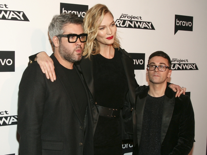 "Brandon Maxwell, from left, Karlie Kloss and Christian Siriano attend the season premiere of Bravo's ""Project Runway"" at Vandal on Thursday, March 7, 2019, in New York. (Photo by Andy Kropa/Invision/AP)"