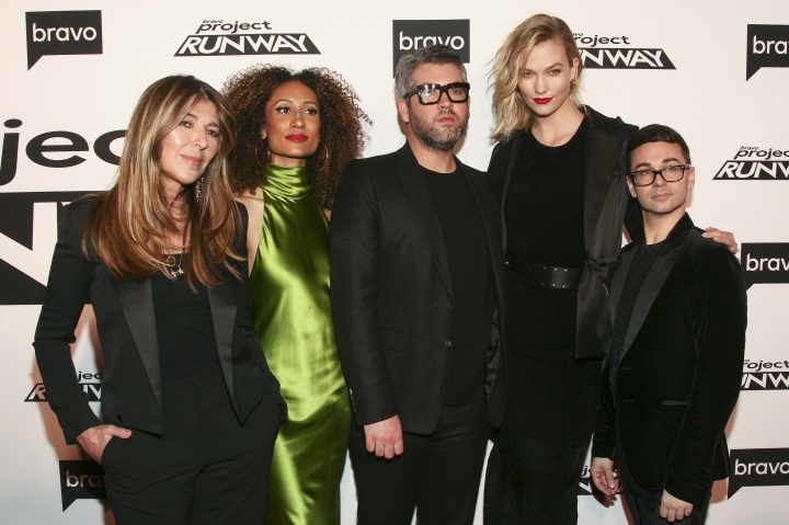 """Nina Garcia, from left, Elaine Welteroth, Brandon Maxwell, Karlie Kloss and Christian Siriano attend the season premiere of Bravo's """"Project Runway"""" at Vandal on Thursday, March 7, 2019, in New York. (Photo by Andy Kropa/Invision/AP)"""