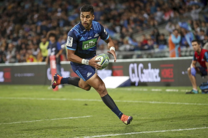 Blues' Rieko Ioane scores a try during a Super Rugby match between the Blues and the Sunwolves in Auckland, New Zealand, Saturday, March 9, 2019. (AP Photo/Shane Wenzlick)