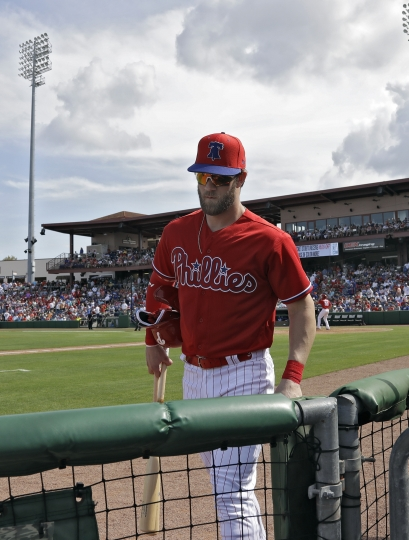 Philadelphia Phillies' Bryce Harper leaves the game against the Toronto Blue Jays after two at-bats during a spring training baseball game Saturday, March 9, 2019, in Clearwater, Fla. (AP Photo/Chris O'Meara)