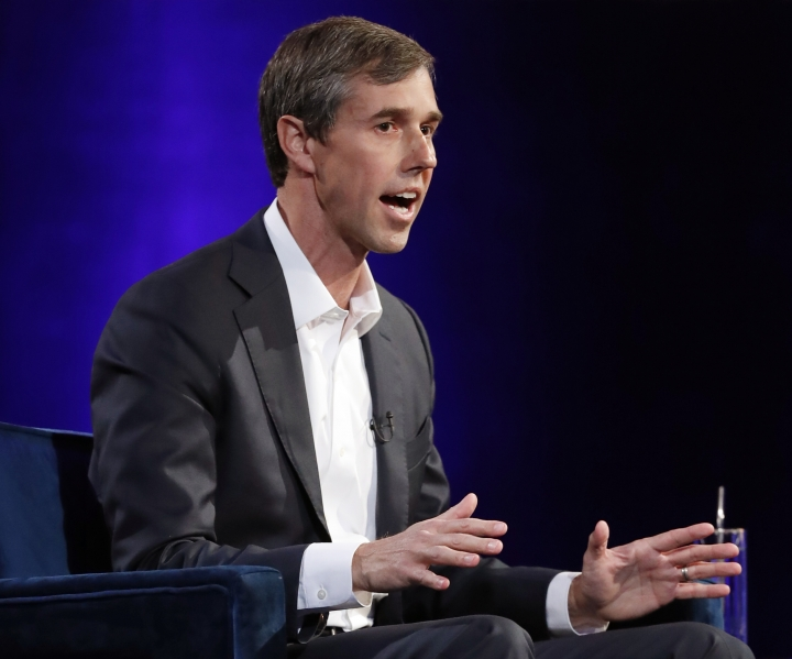 "FILE - In this Tuesday, Feb. 5, 2019, file photo, former Democratic Texas congressman Beto O'Rourke speaks during an interview with Oprah Winfrey live on a Times Square stage at ""SuperSoul Conversations,"" in New York. The new Beto O'Rourke documentary ends with him musing about how to keep the momentum of his 2018 defeat to Ted Cruz in the Texas Senate race going, but also declaring just as quickly ""maybe that's it."" (AP Photo/Kathy Willens, File)"