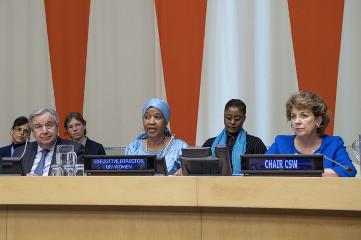 """In this Friday, March 8, 2019 photo provided by the United Nations, Phumzile Mlambo-Ngcuka, third from right, executive director of UN Women, speaks at the United Nations Observance of International Women's Day at the United Nations headquarters. Mlambo-Ngcuka is calling for the revolution in technology to be used to benefit the world's poor and especially women who will not achieve gender equality without """"the giant leap that 21st century innovations can bring."""" At left is U.N. secretary General Antonio Guterres, and at right is Geraldine Byrne-Nason, chair of the Commission on the Status of Women and Permanent Representative of Ireland to the United Nations. (Eskinder Debebe/The United Nations via AP)"""