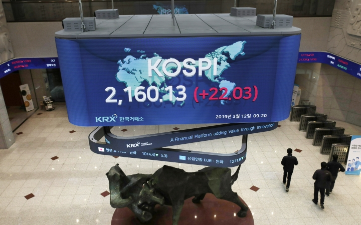 People walk near the screens showing the Korea Composite Stock Price Index (KOSPI) and the foreign exchange rates at the Korea Exchange in Seoul, South Korea, Tuesday, March 12, 2019. Asian stock markets have followed Wall Street higher as investors look ahead to the British parliament's vote on a plan to leave the European Union. Benchmarks in Shanghai, Tokyo, and Sydney all advanced. (AP Photo/Lee Jin-man)