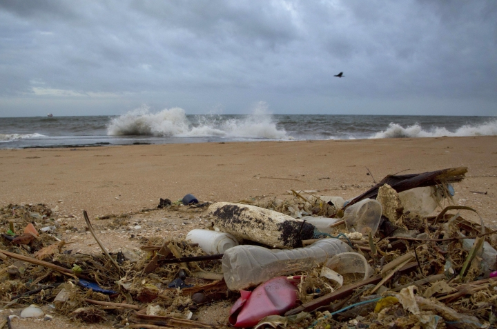 FILE - In this Aug. 13, 2015 file photo, a plastic bottle lies among other debris washed ashore on the Indian Ocean beach of Uswetakeiyawa, north of Colombo, Sri Lanka. According to a scientific report from the United Nations released on Wednesday, March 13, 2019, climate change, a global major extinction of animals and plants, a human population soaring toward 10 billion, degraded land, polluted air, and plastics, pesticides and hormone-changing chemicals in the water are making the planet an increasing unhealthy place for people. (AP Photo/Gemunu Amarasinghe, File)
