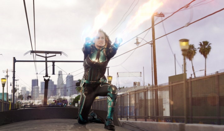 """This image released by Disney-Marvel Studios shows Brie Larson in a scene from """"Captain Marvel."""" Marvel's """"Captain Marvel,"""" the superhero factory's first movie fronted solely by a female hero, last weekend notched the sixth largest global opening ever and in five days of release has already sold $524.1 million tickets worldwide. (Disney-Marvel Studios via AP)"""