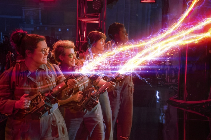 "In this image released by Sony Pictures, from left, Melissa McCarthy, Kate McKinnon, Kristen Wiig and Leslie Jones appear in a scene from, ""Ghostbusters."" Marvel's ""Captain Marvel,"" the superhero factory's first movie fronted solely by a female hero, has already sold $524.1 million tickets worldwide in five days of release. That was despite the efforts of a vocal minority to sabotage the movie's release. But after previous similar campaigns against ""Ghostbusters"" and ""The Last Jedi,"" Hollywood studios are fighting back, as are sites like Rotten Tomatoes and YouTube. (Sony Pictures via AP)"