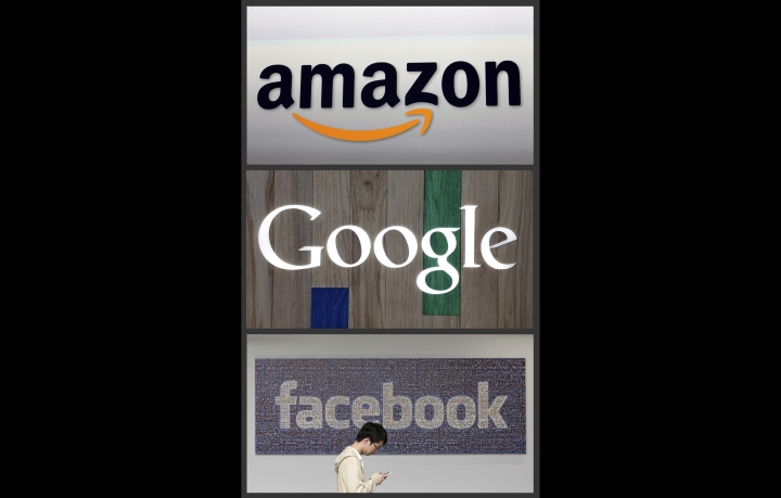 FILE - This photo combo of images shows the Amazon, Google and Facebook logos. A review into competition in the U.K.'s digital market says the country needs tough new rules to help counter the dominance of big tech giants like Facebook, Google and Amazon. The independent review published Wednesday, March 13, 2019 says global tech giants don't face enough competition and that existing rules are outdated and need to be beefed up. (AP Photo, file)