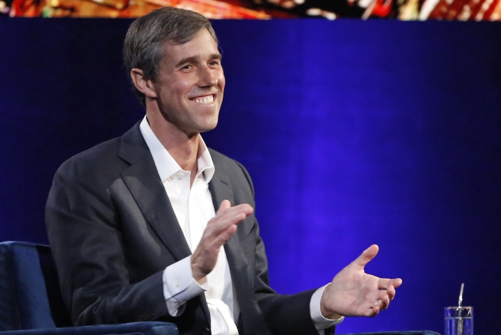 FILE - In this Feb. 5, 2019, photo, former Democratic Texas congressman Beto O'Rourke laughs as he is interviewed by Oprah Winfrey in New York. (AP Photo/Kathy Willens, File)